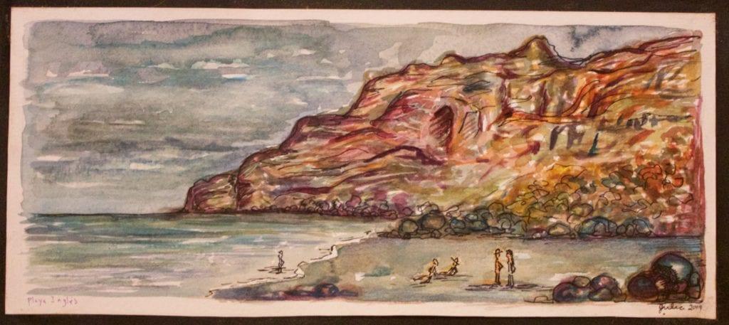'Playa Ingles' Watercolor on Paper: $35